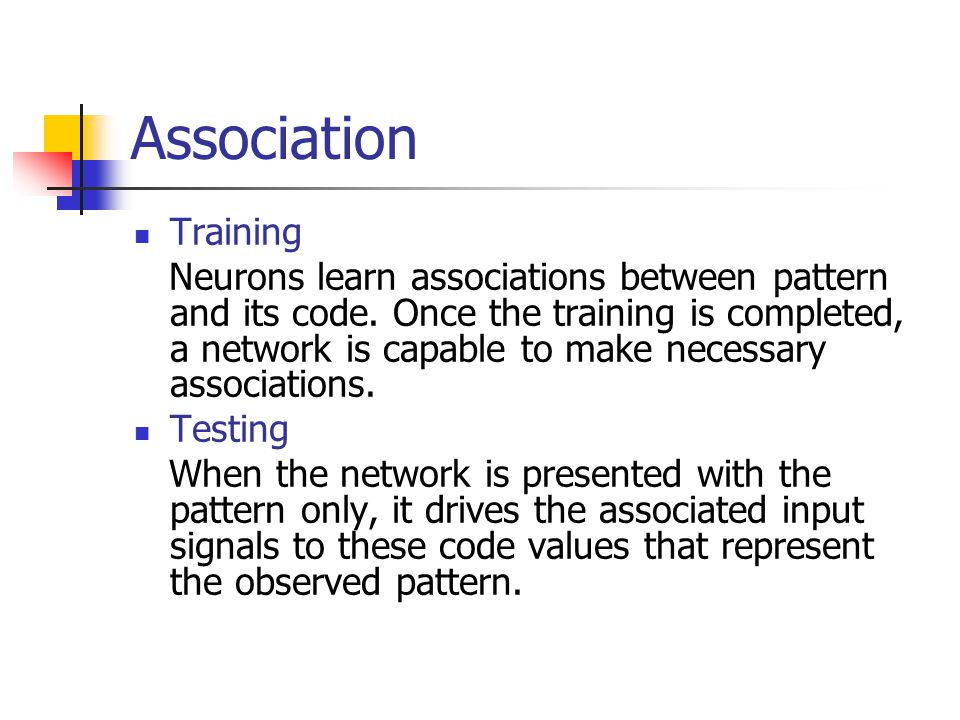 Association Training.