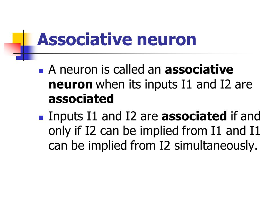 Associative neuron A neuron is called an associative neuron when its inputs I1 and I2 are associated.