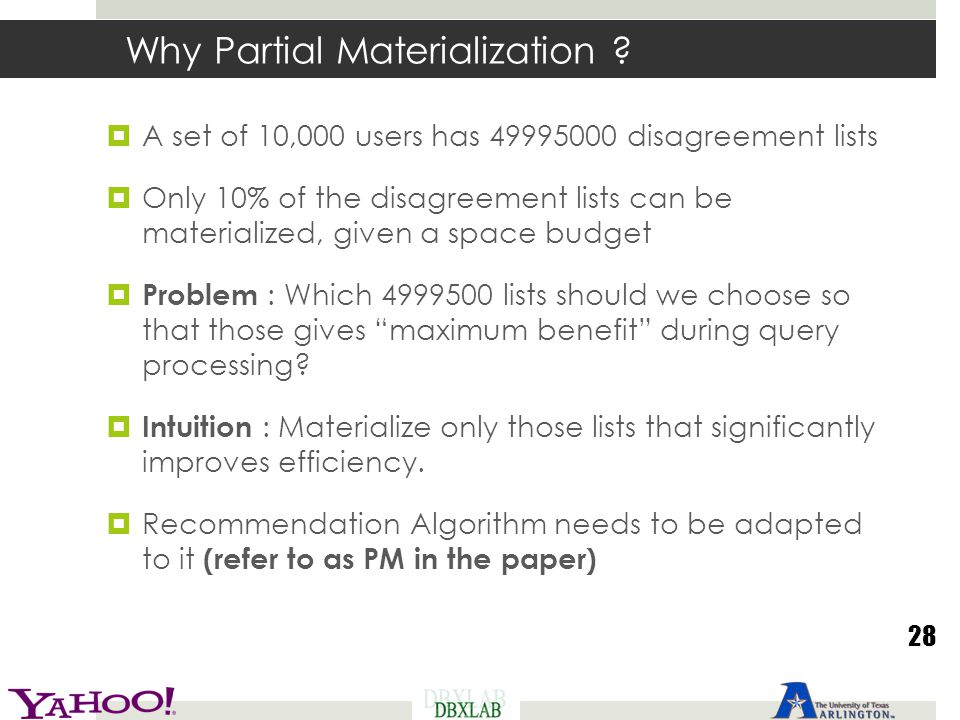 Why Partial Materialization