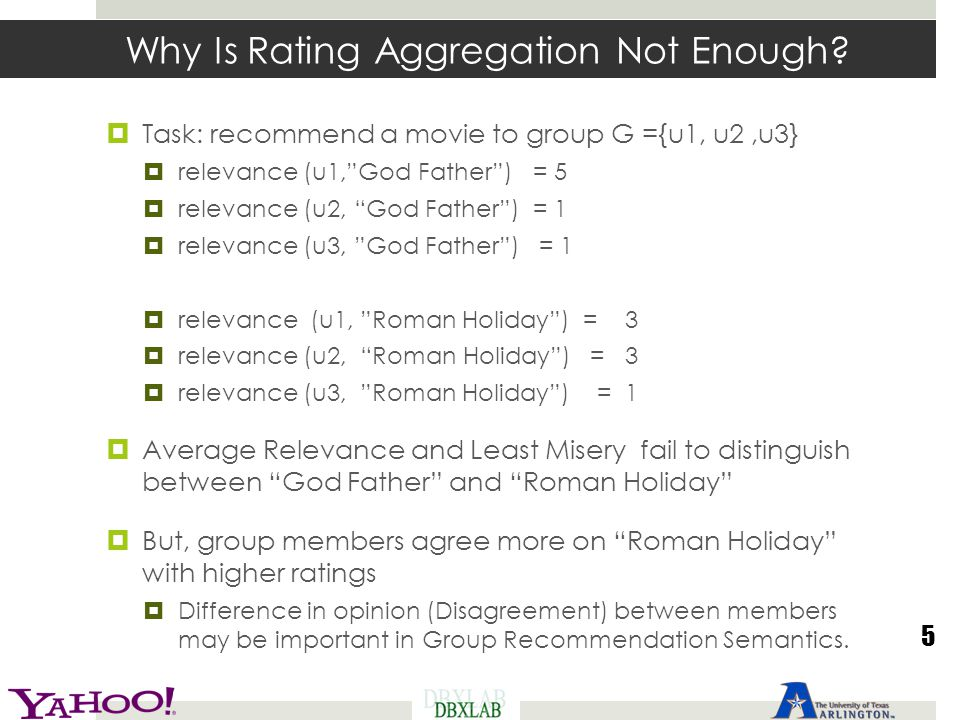 Why Is Rating Aggregation Not Enough