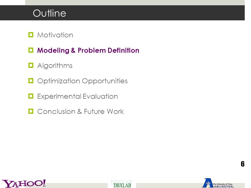 Outline Motivation Modeling & Problem Definition Algorithms