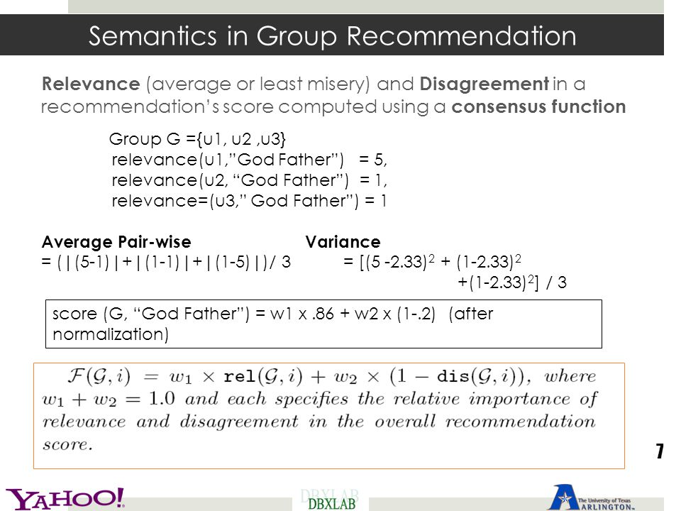 Semantics in Group Recommendation