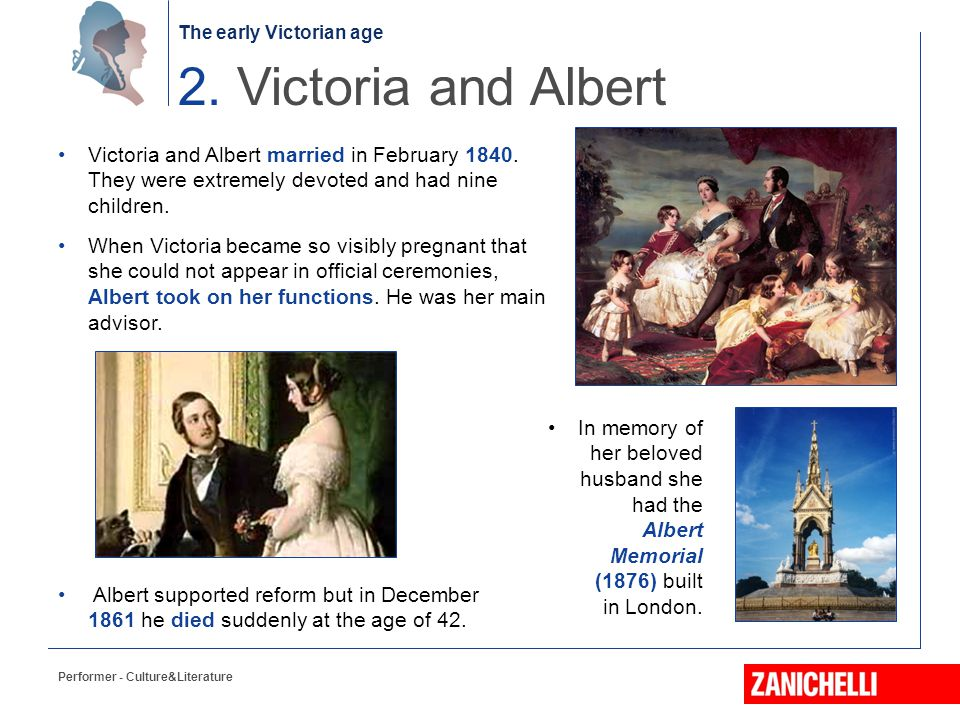 2. Victoria and Albert Victoria and Albert married in February 1840. They were extremely devoted and had nine children.