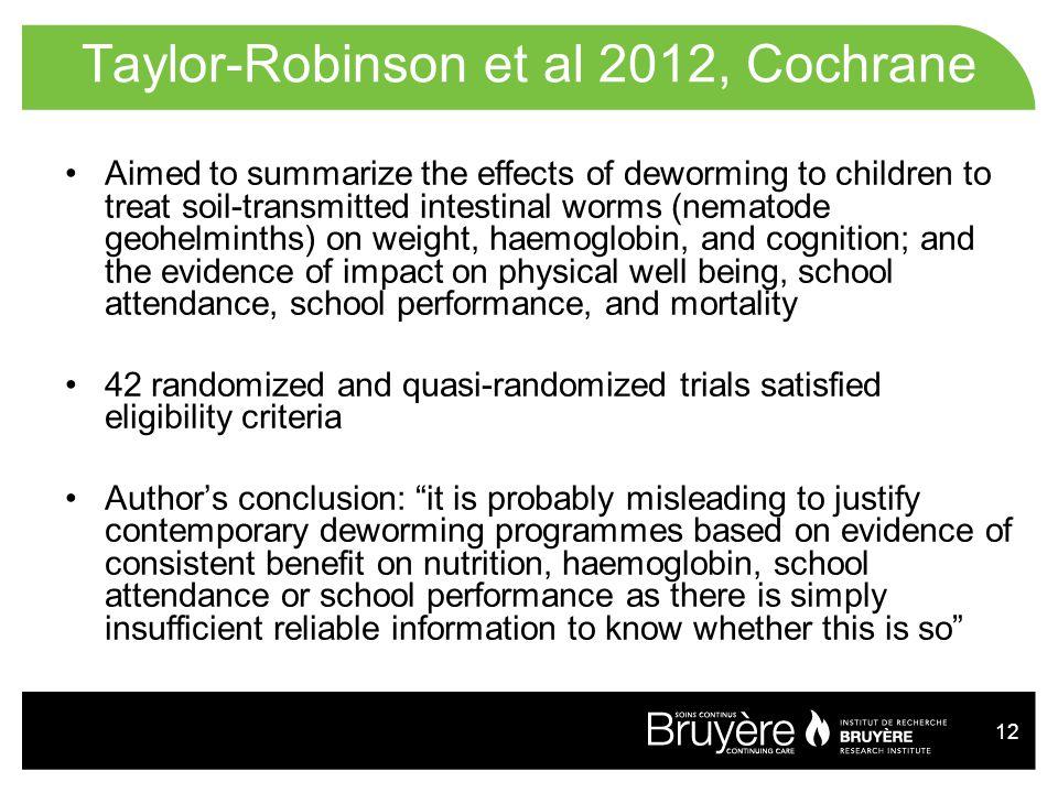 Taylor-Robinson et al 2012, Cochrane