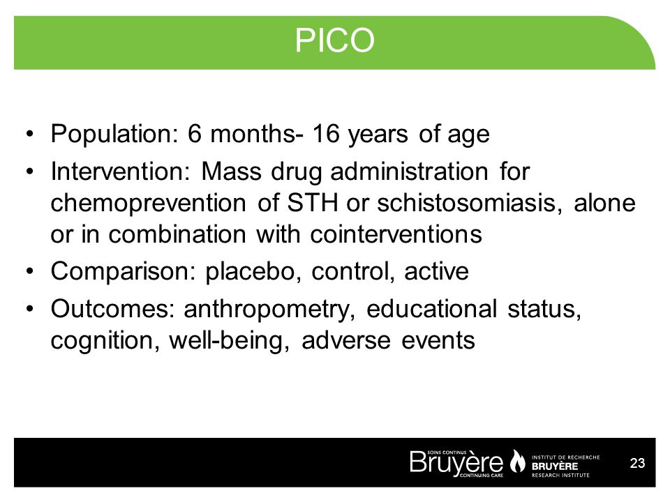 PICO Population: 6 months- 16 years of age
