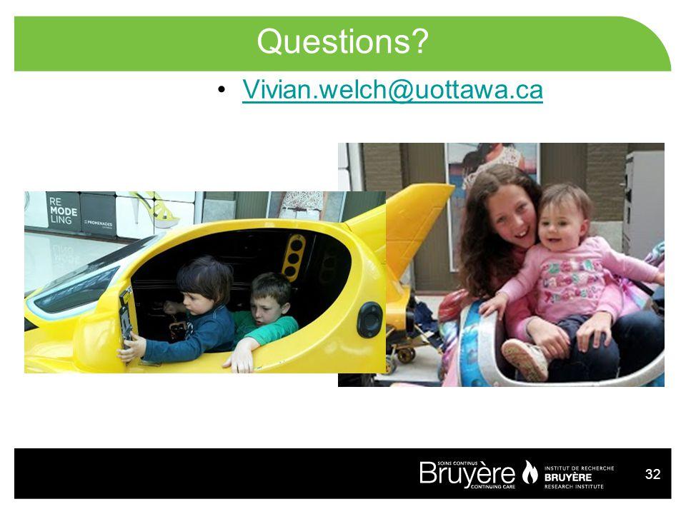 Questions Vivian.welch@uottawa.ca