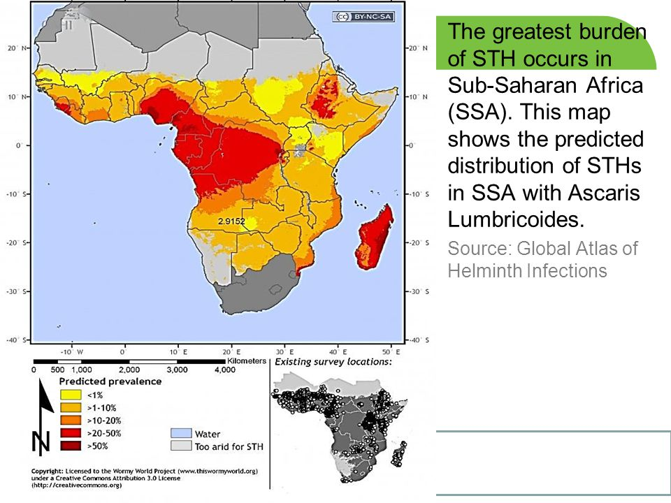 The greatest burden of STH occurs in Sub-Saharan Africa (SSA)