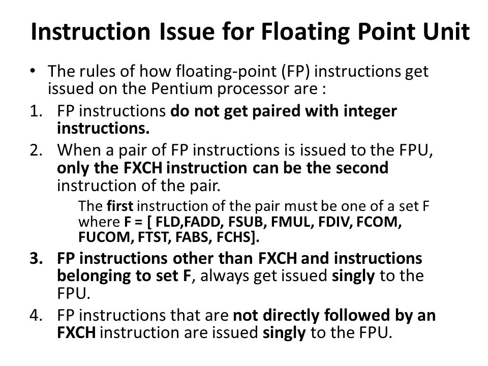 Instruction Issue for Floating Point Unit