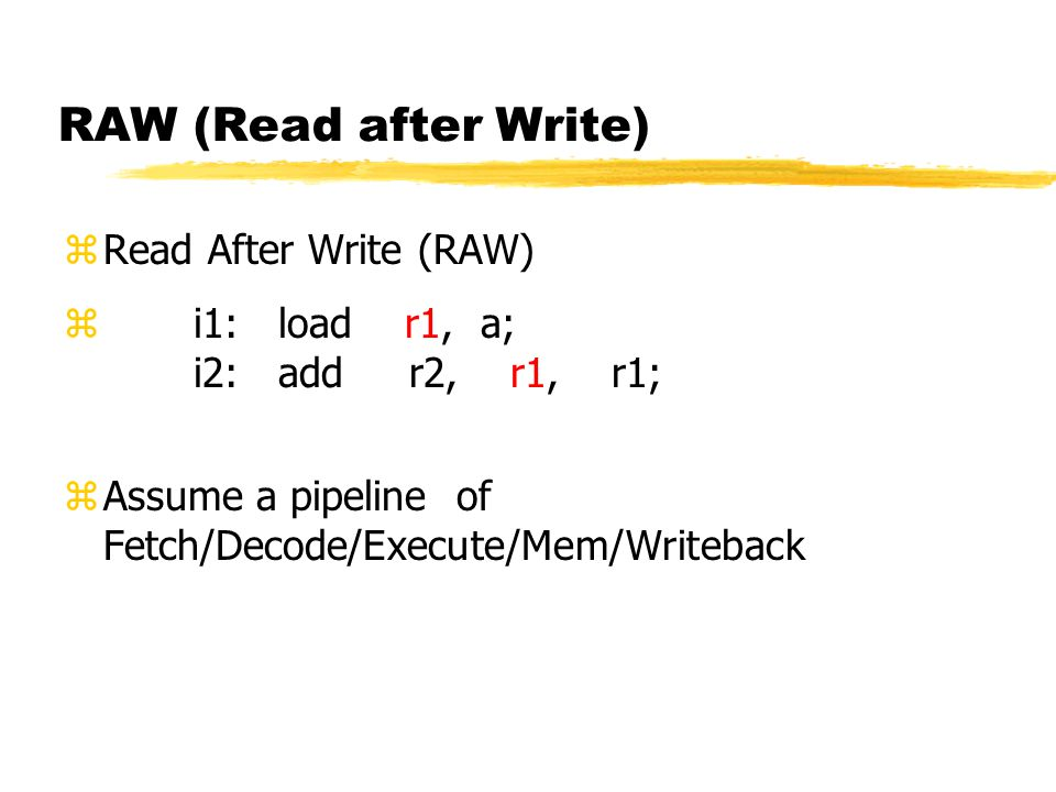 RAW (Read after Write) Read After Write (RAW)