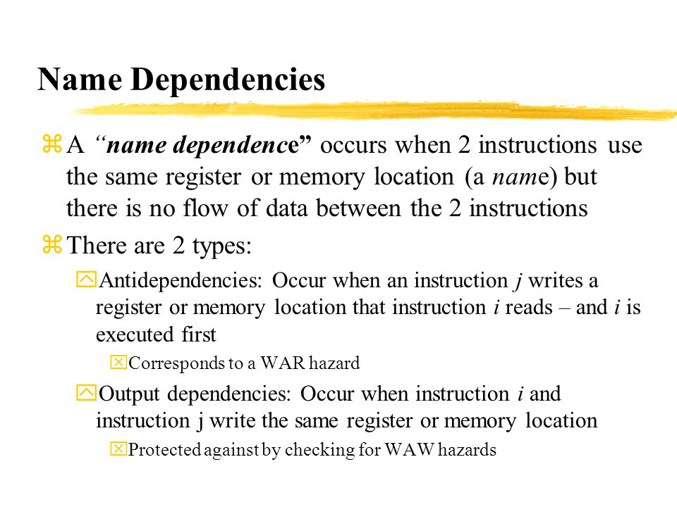 Name Dependencies