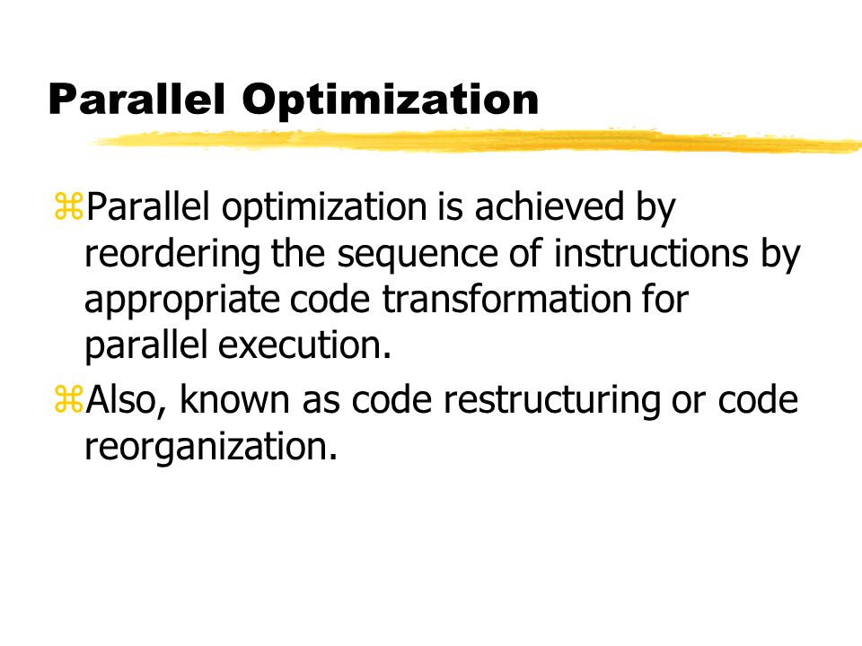 Parallel Optimization