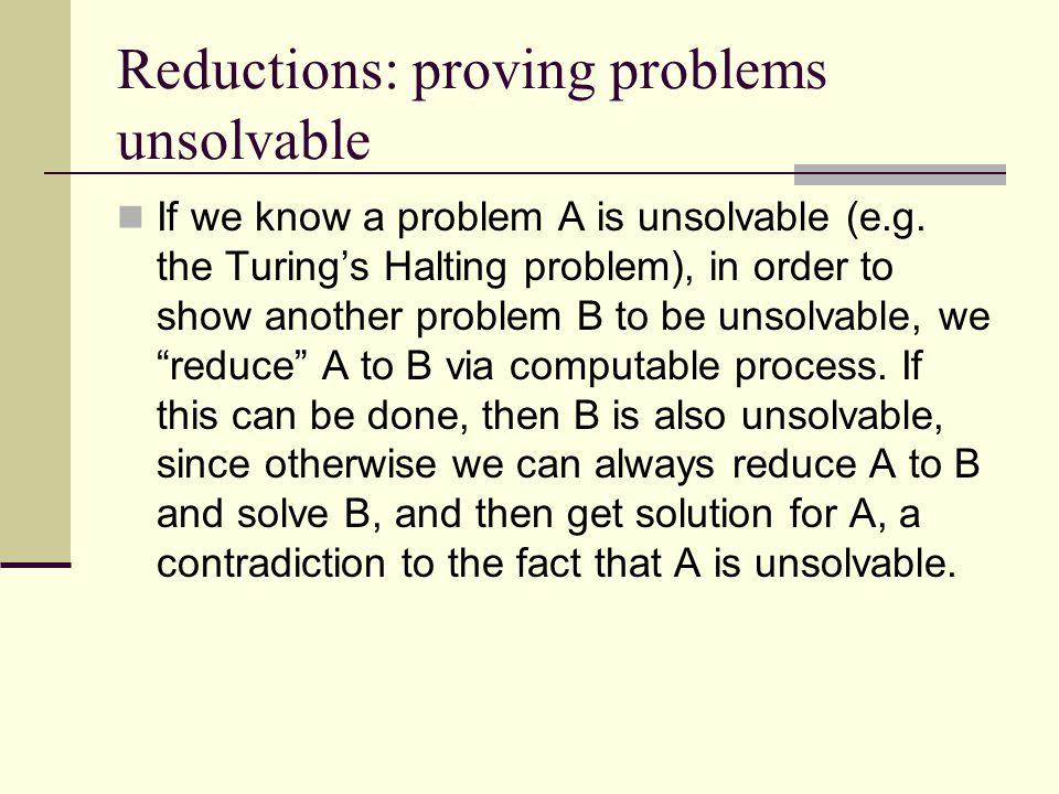 Reductions: proving problems unsolvable