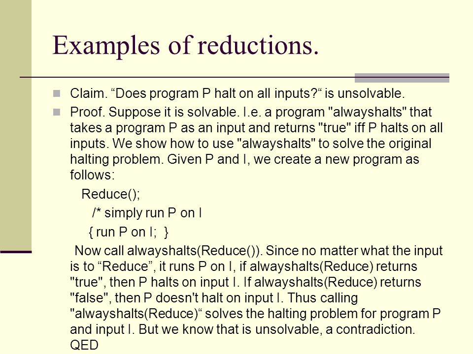 Examples of reductions.