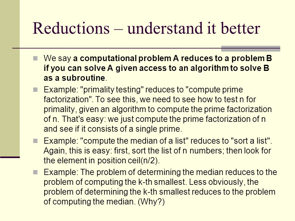 Reductions – understand it better