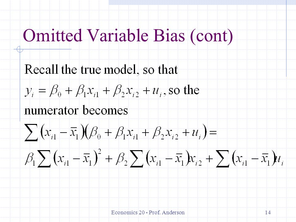 Omitted Variable Bias (cont)