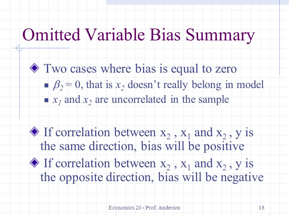Omitted Variable Bias Summary