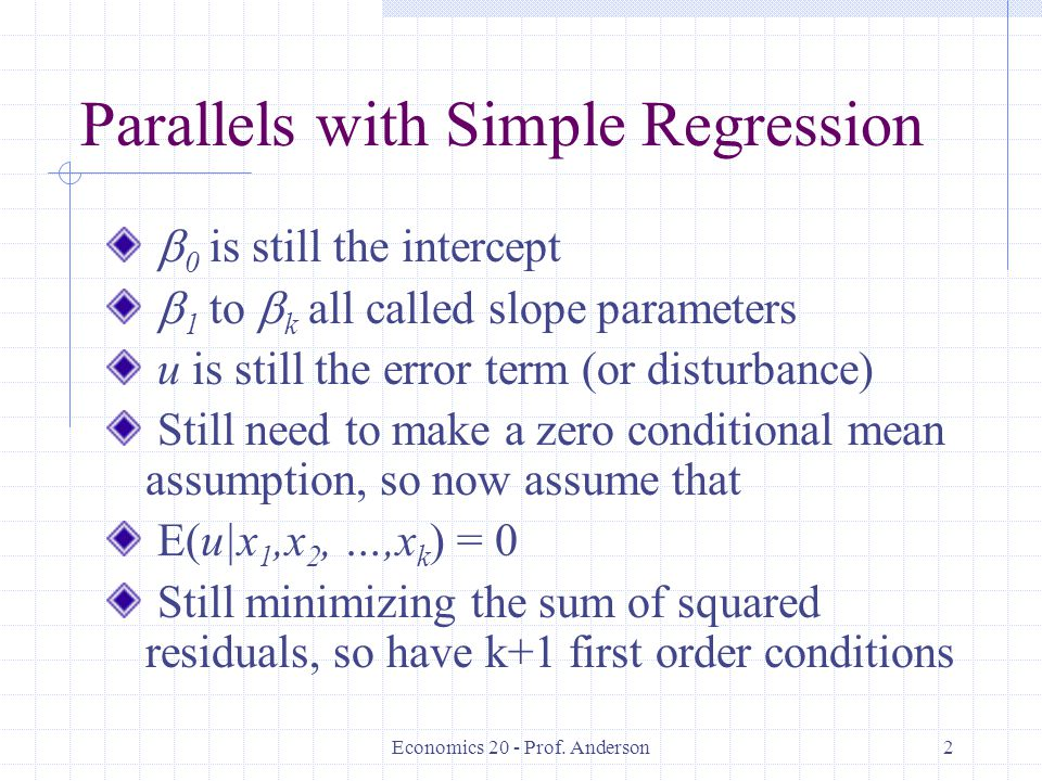 Parallels with Simple Regression