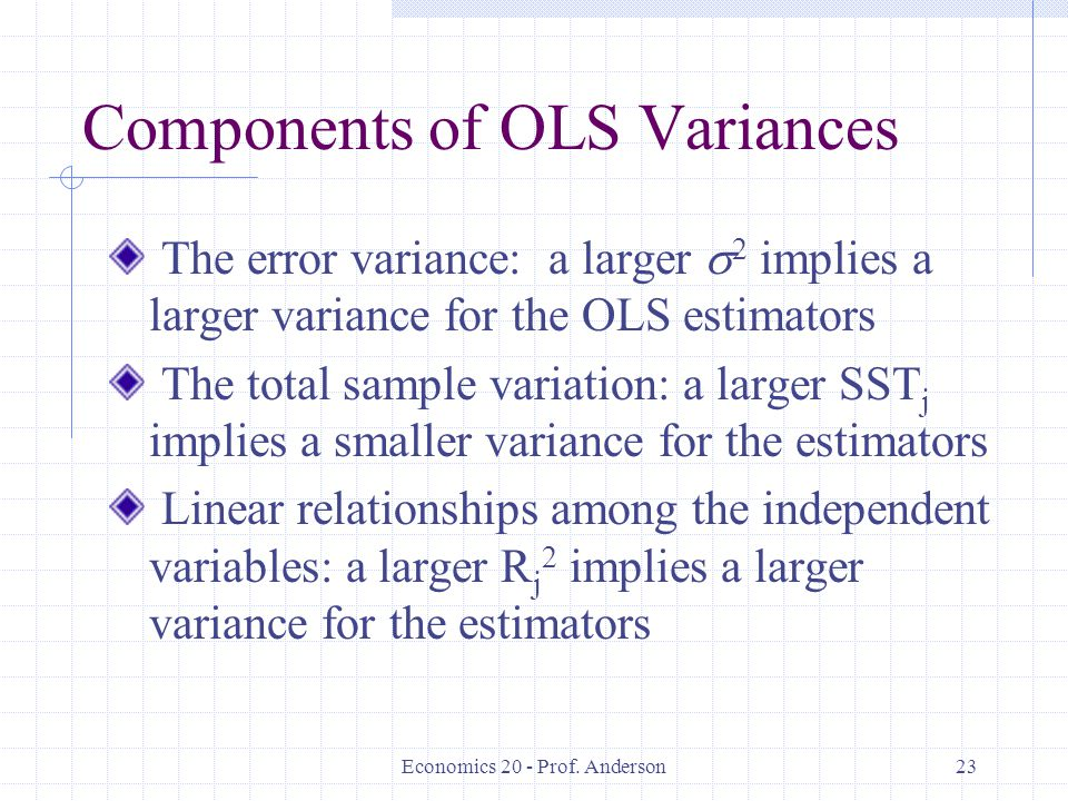 Components of OLS Variances