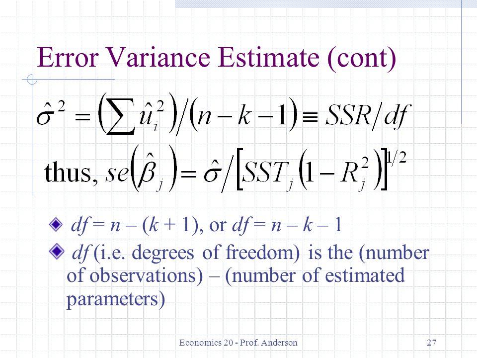 Error Variance Estimate (cont)