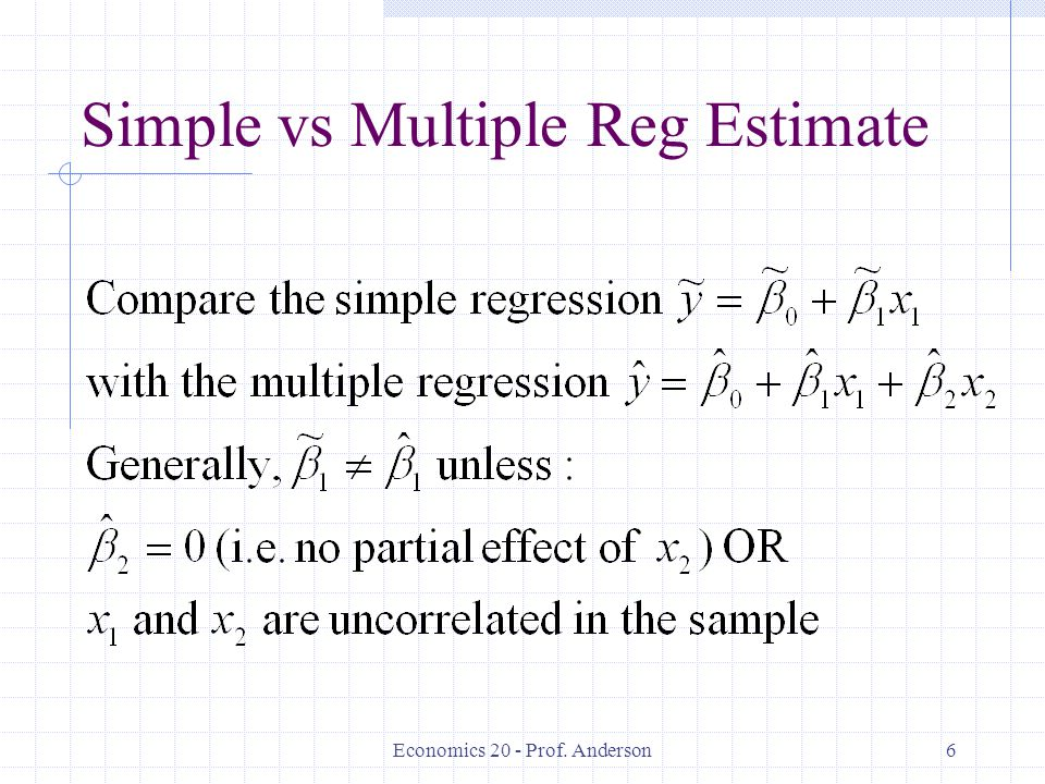 Simple vs Multiple Reg Estimate