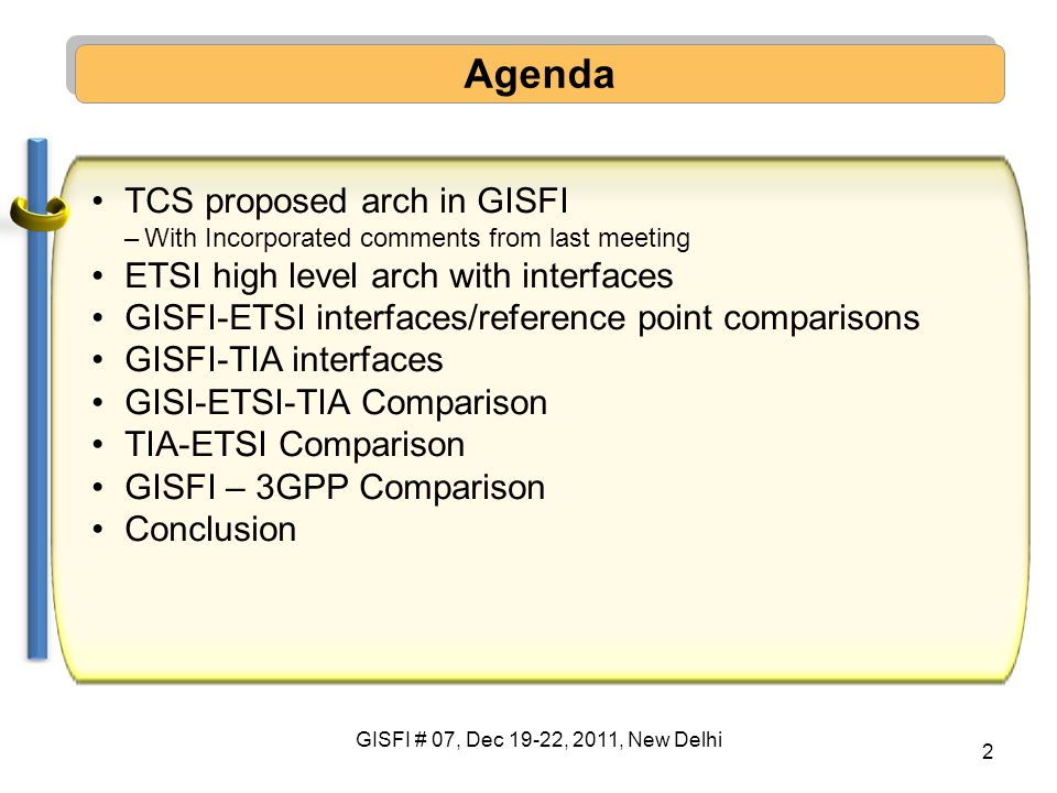 Agenda TCS proposed arch in GISFI ETSI high level arch with interfaces