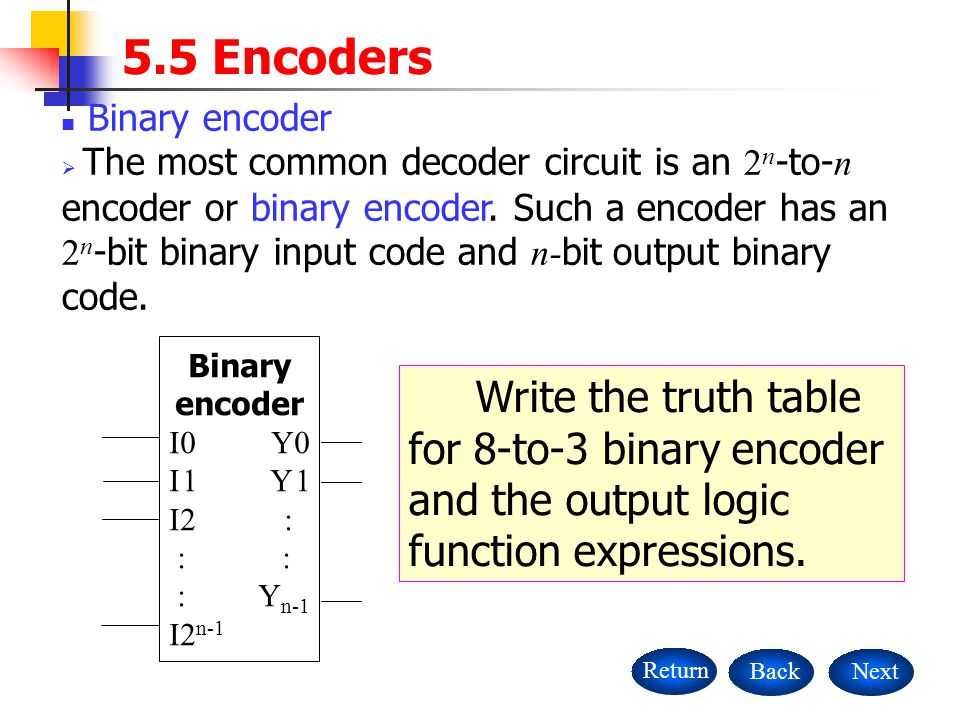 5.5 Encoders Binary encoder.
