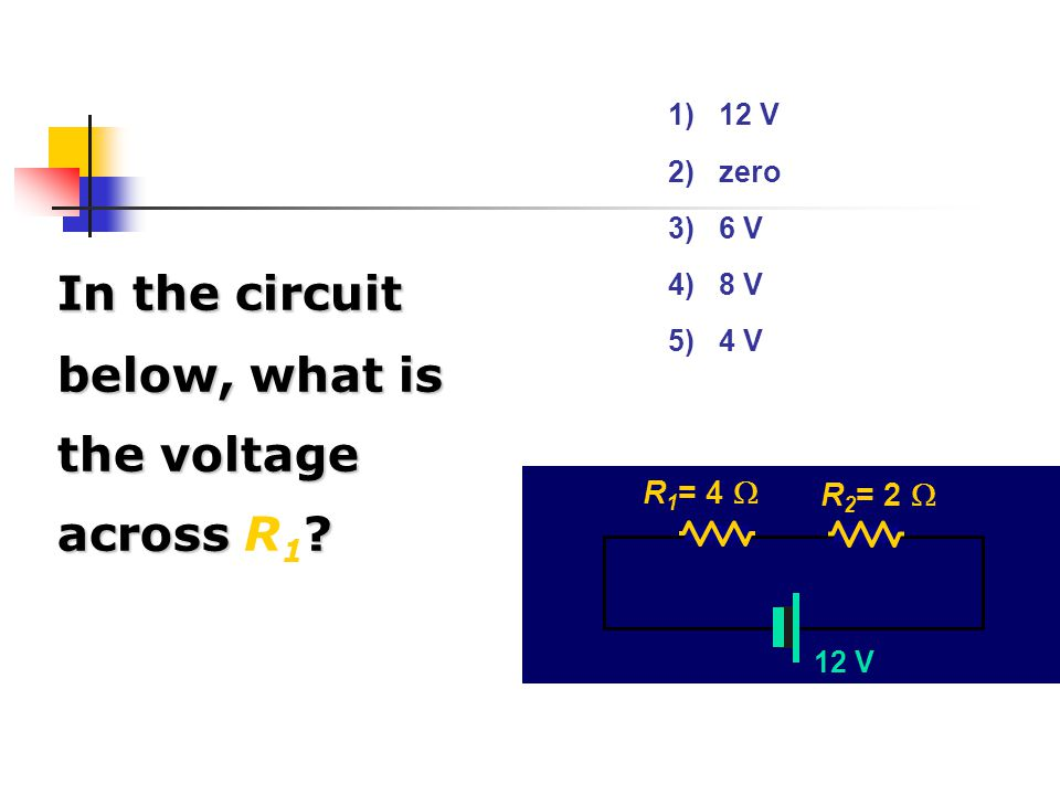 In the circuit below, what is the voltage across R1