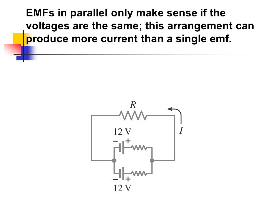 EMFs in parallel only make sense if the voltages are the same; this arrangement can produce more current than a single emf.