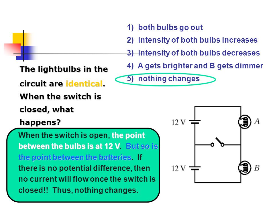 1) both bulbs go out 2) intensity of both bulbs increases. 3) intensity of both bulbs decreases.