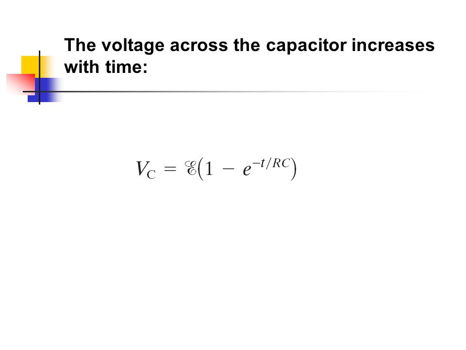 The voltage across the capacitor increases with time:
