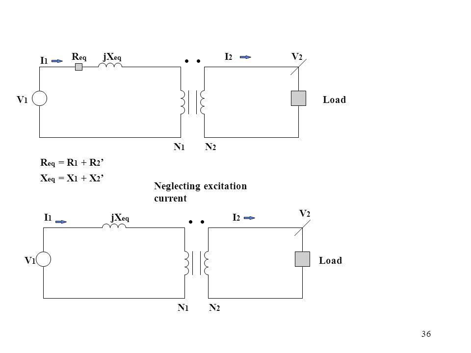 Req jXeq. I2. V2. I1. V1. Load. N1. N2. Req = R1 + R2' Xeq = X1 + X2' Neglecting excitation current.