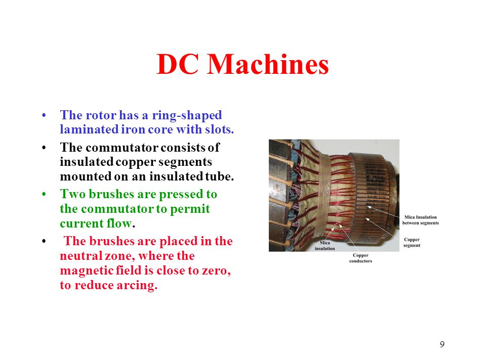 DC Machines The rotor has a ring-shaped laminated iron core with slots.