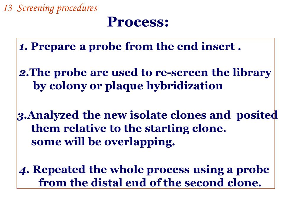 Process: I3 Screening procedures