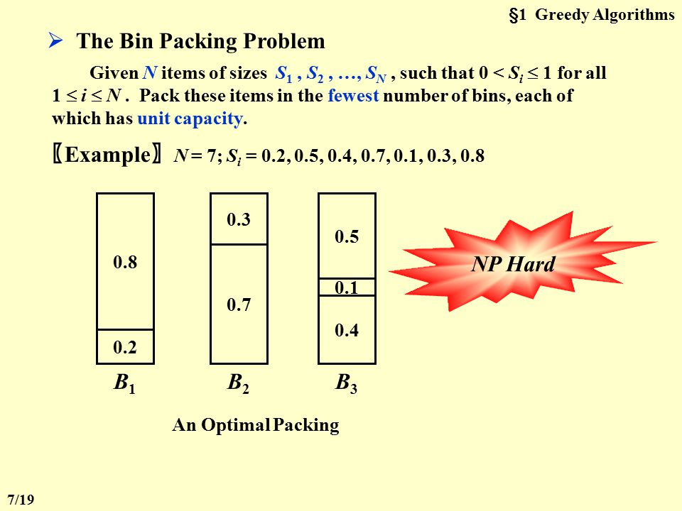  The Bin Packing Problem