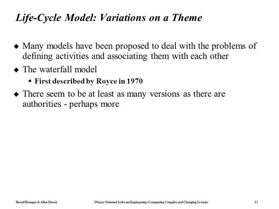 Life-Cycle Model: Variations on a Theme