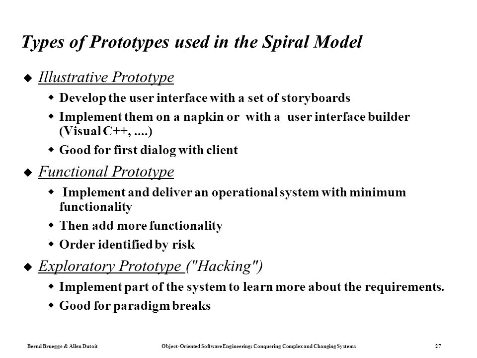 Types of Prototypes used in the Spiral Model