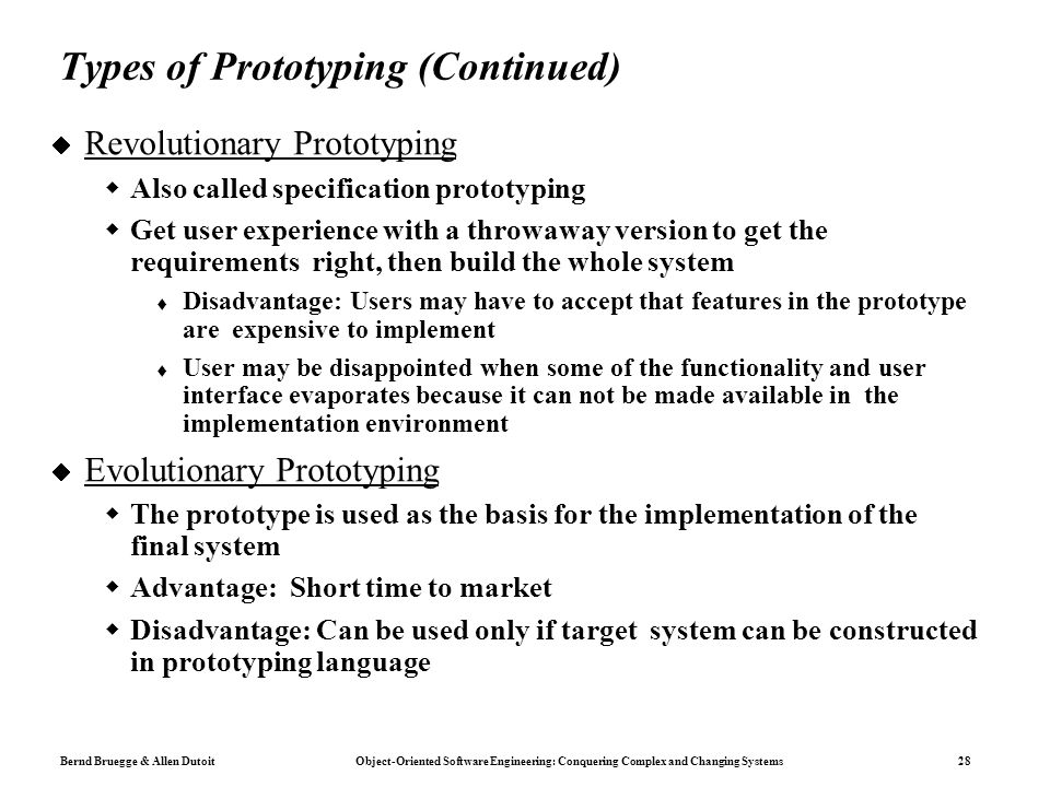 Types of Prototyping (Continued)
