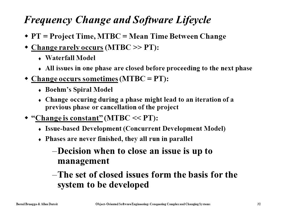 Frequency Change and Software Lifeycle