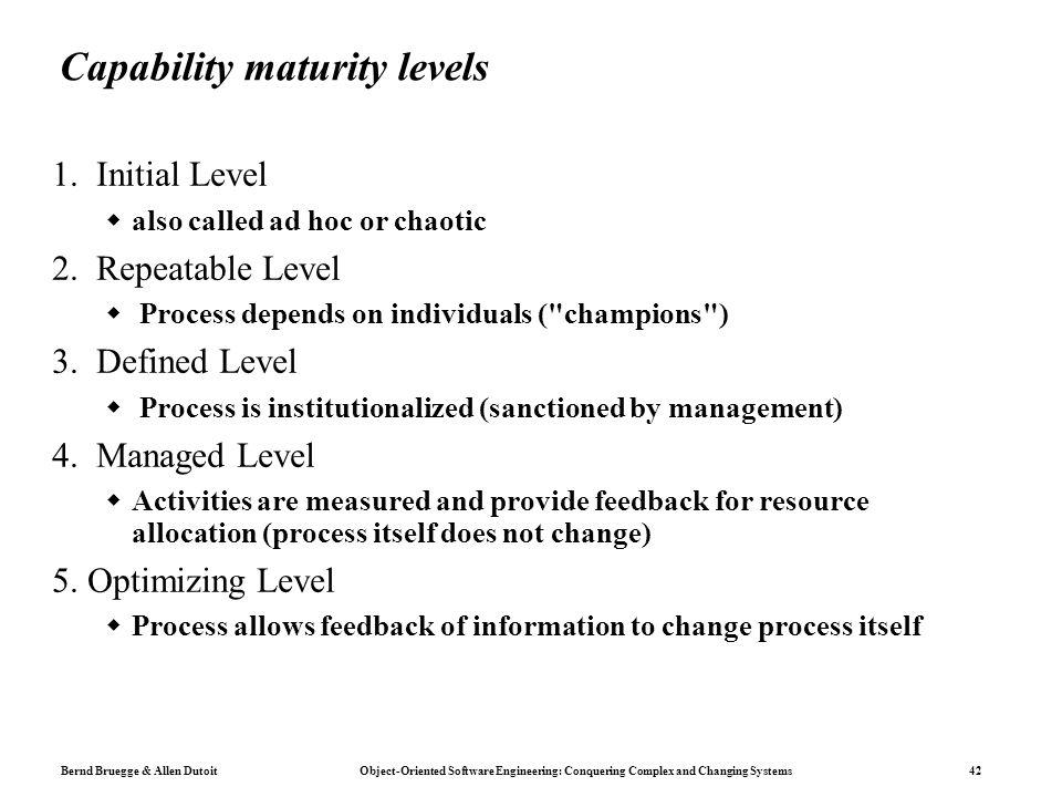 Capability maturity levels