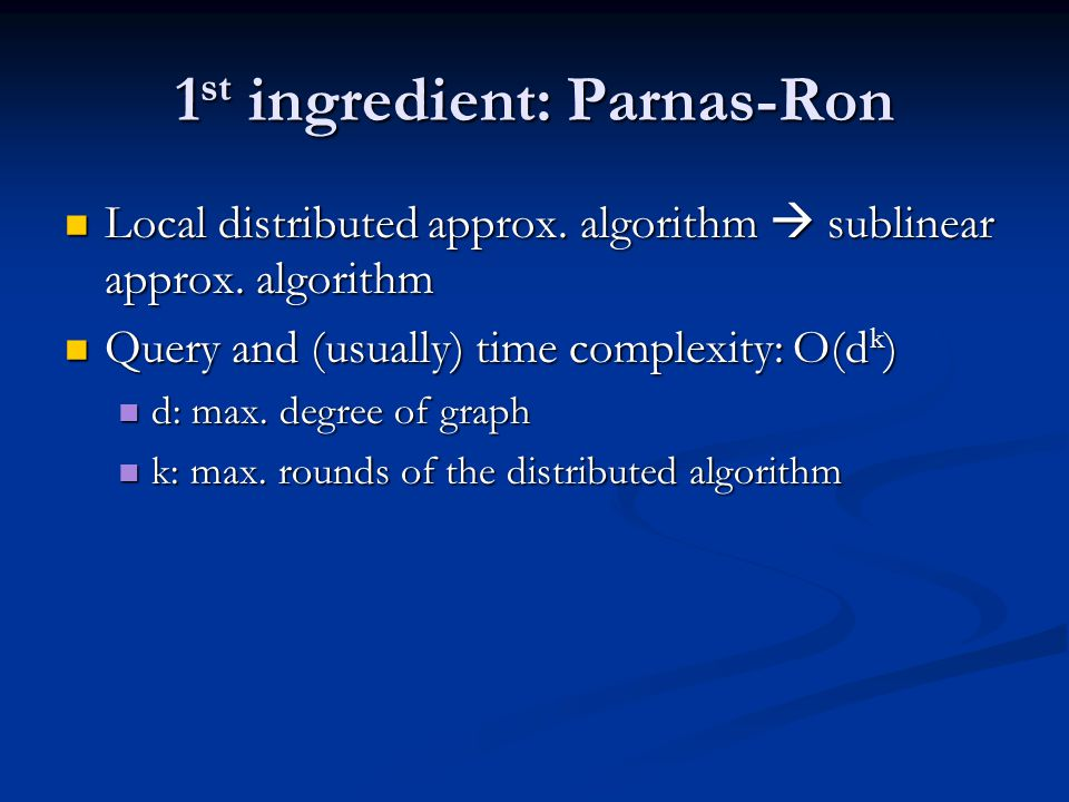 1st ingredient: Parnas-Ron
