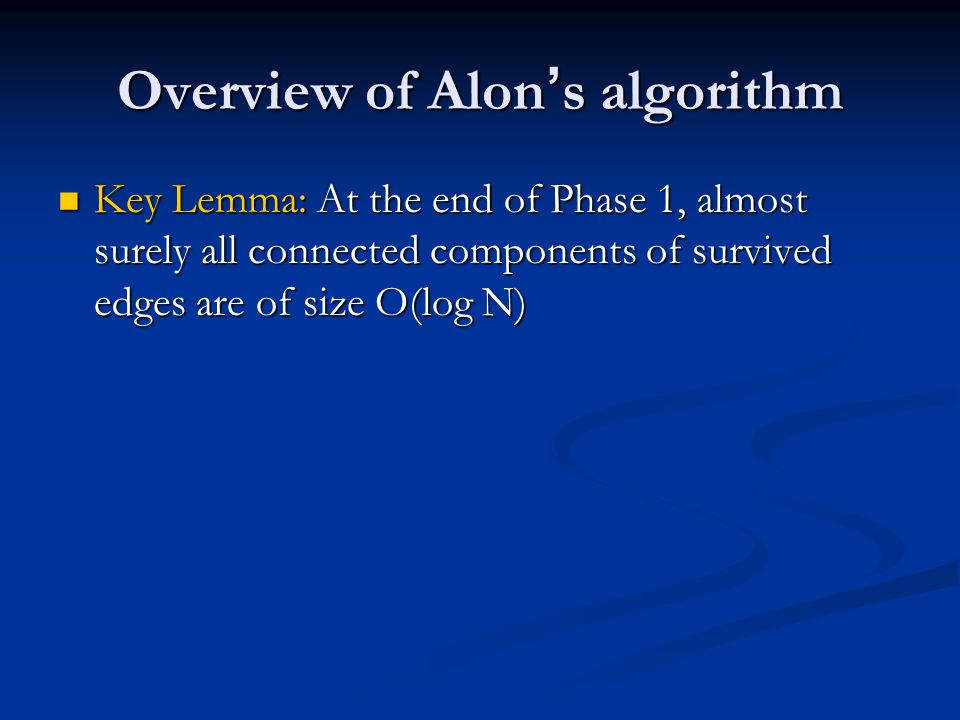 Overview of Alon's algorithm