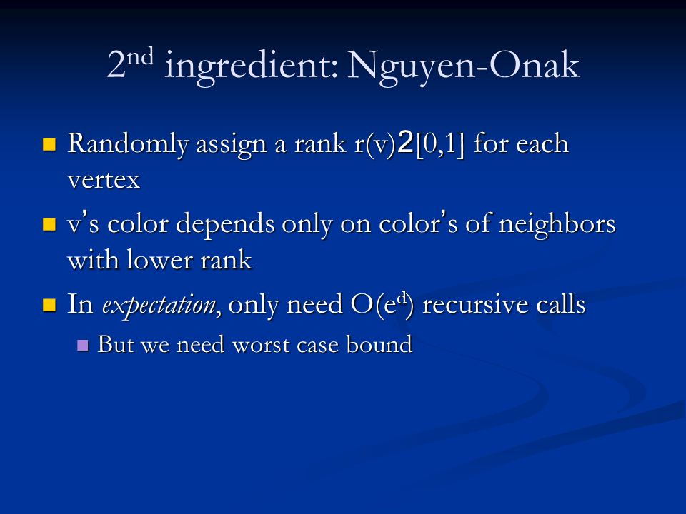 2nd ingredient: Nguyen-Onak