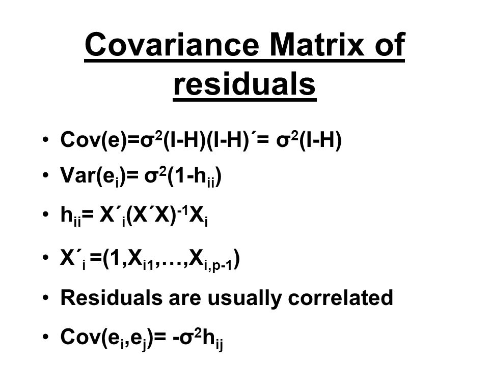 Covariance Matrix of residuals