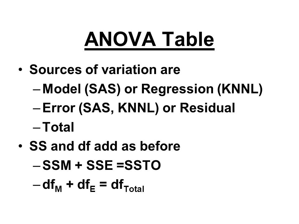 ANOVA Table Sources of variation are Model (SAS) or Regression (KNNL)