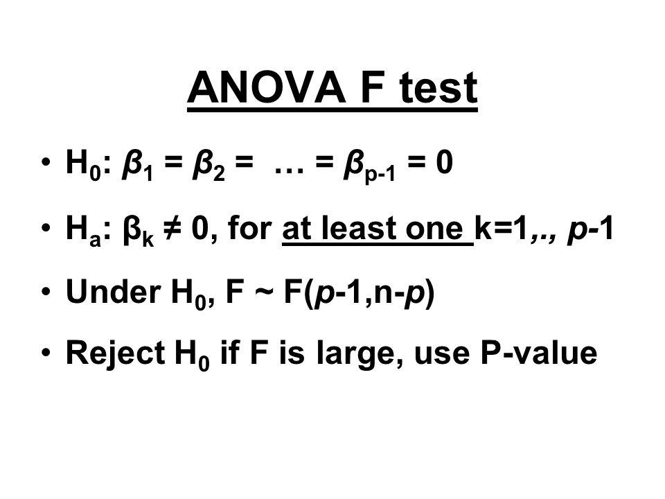 ANOVA F test H0: β1 = β2 = … = βp-1 = 0