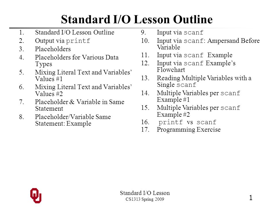 Standard I/O Lesson Outline