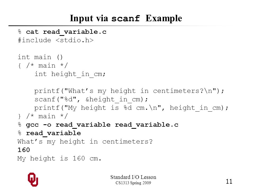 Input via scanf Example