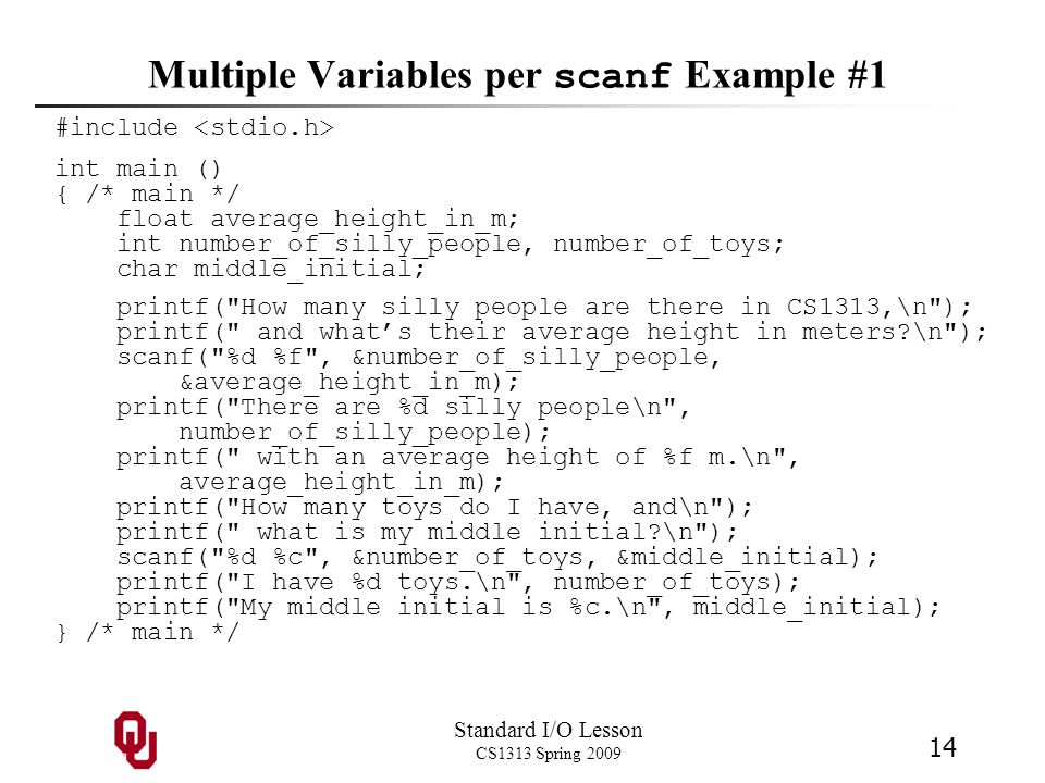 Multiple Variables per scanf Example #1