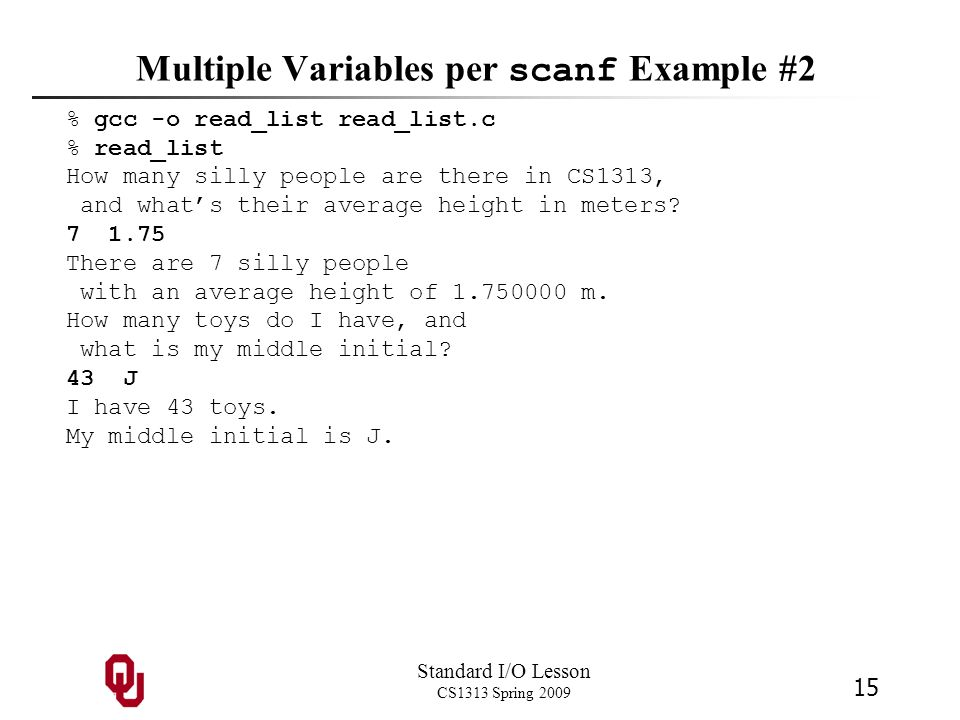 Multiple Variables per scanf Example #2