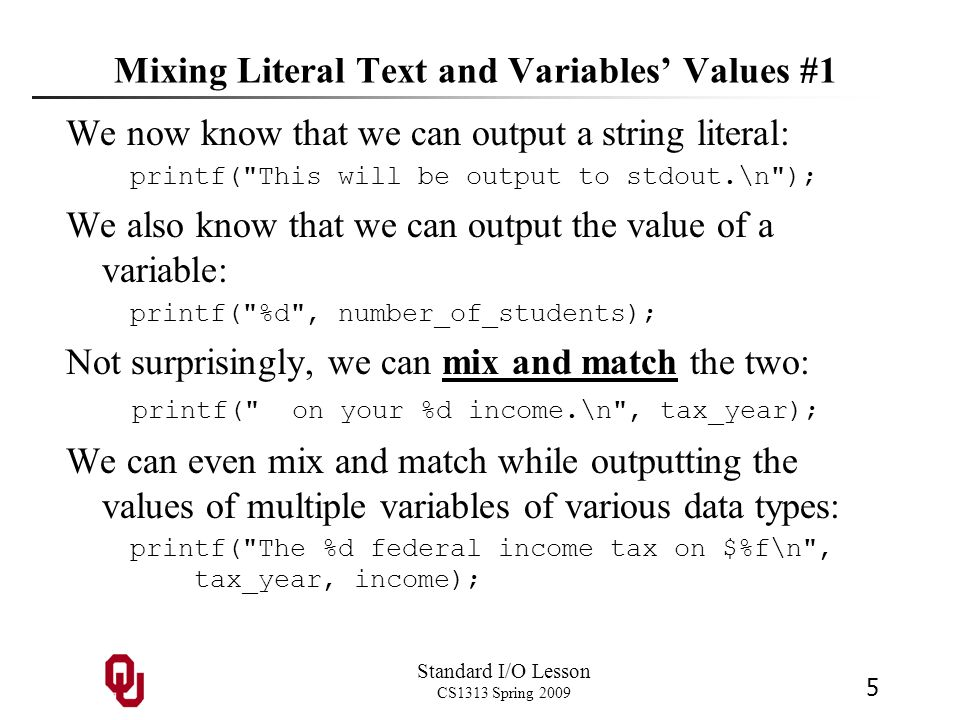 Mixing Literal Text and Variables' Values #1